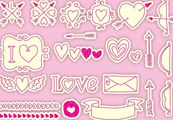 Drawn Valentine Vector Icons - Kostenloses vector #200371