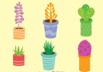 Colorful Vector Plants In A Pot - vector gratuit #200411
