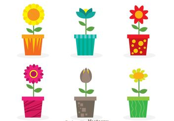 Vector Flowers In A Pot - vector #200421 gratis