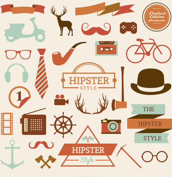 Hipster element icon set - Free vector #200521