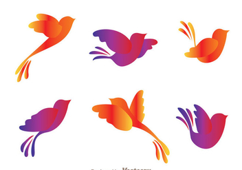 Colorful Flying Bird Silhouette Vectors - Free vector #200571