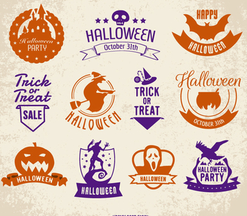 Halloween badges set - бесплатный vector #200651