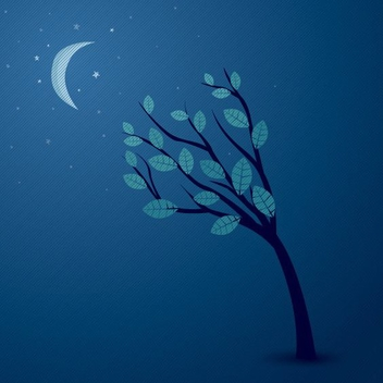 Midnight Sky Abstract Tree - vector gratuit #200671