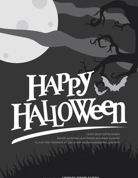 Halloween Retro Black and white poster - vector gratuit #200961