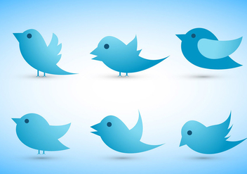 Twitter bird vectors set - Free vector #201311