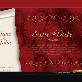 Free Elegant Red Marriage Vector Invitation - Kostenloses vector #201871