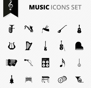 Free Vector Music Icons Set - Kostenloses vector #201951