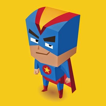 Free Vector Blue Superhero Illustration - Free vector #201991