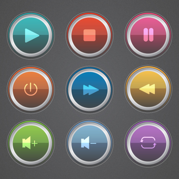Colorful Glossy Music Button Vectors - vector gratuit #202121