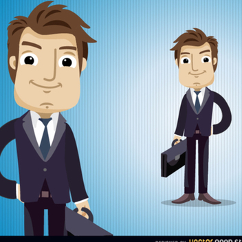 Businessman Vector Character With Briefcase - Free vector #202251
