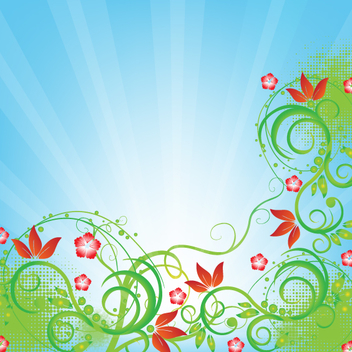 Free Vector Sunburst Floral Background - Free vector #202311