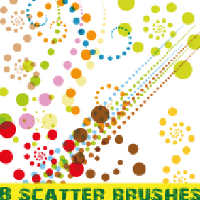 Colorful Dots Scatter Brushes - Free vector #203101
