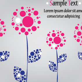 Flowers Made Of Circles - Free vector #203131