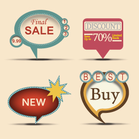 Vintage Sale Labels Set - vector #203441 gratis