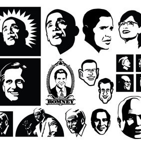 Vector Political Faces - vector gratuit #203561