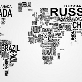 Vector Text World Map - Free vector #203941