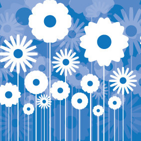Blue Card With Flowers - Free vector #204221