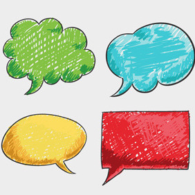 Free Vector Of The Day #120: Scribbled Speech Bubbles - Free vector #204431