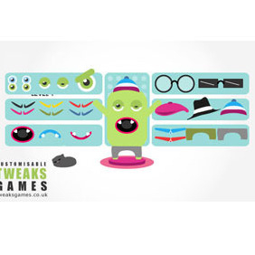Dress Up Monster Vectors Pack - vector gratuit #204461