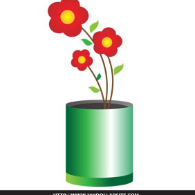 Free Simple Flower In A Vase Vector - Free vector #204741