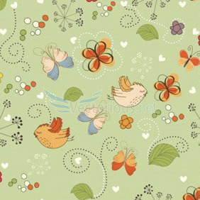 Seamless Pattern With Birds - бесплатный vector #204791