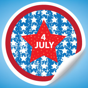 Fourth Of July Sticker Vector - бесплатный vector #204871
