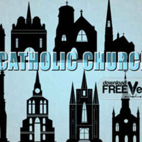 Silhouettes Catholic Church - vector gratuit #204981