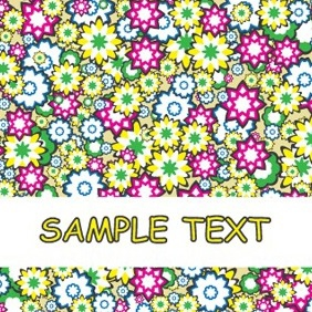 Abstract Cartoonized Flowers Background Card Design - Free vector #205051
