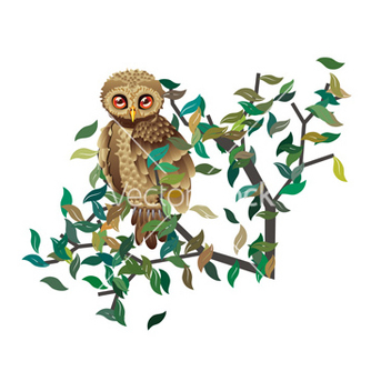 Free owl on branch with leaves vector - бесплатный vector #205341