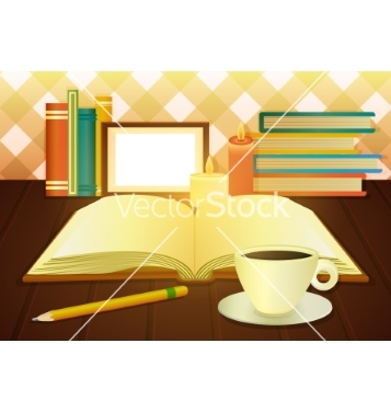 Free open book and cup of coffee vector - Free vector #205351