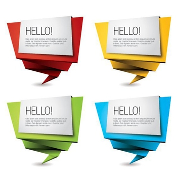 Colorful Origami Banners - vector gratuit #205611