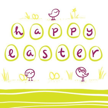 Happy Easter Greeting Card - vector gratuit #205721