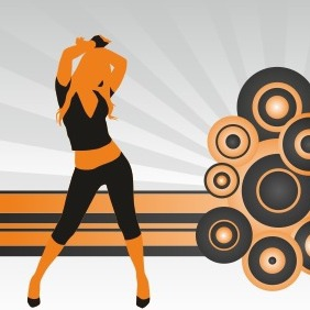 Silhouette Of Dancing Girl - vector gratuit #206991