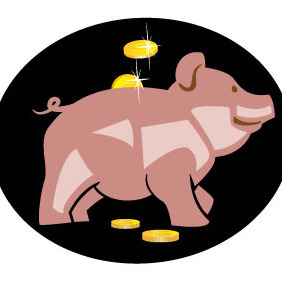 Pig Money Bank Vector - Free vector #207101