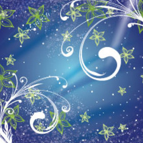 Green Flower In Blue Swirly Background - Free vector #207601