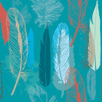 Feathers Pattern - vector gratuit #207701