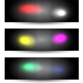 Black Glowing Banners - vector #207741 gratis