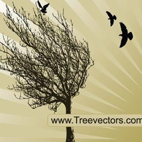 Vector Tree Silhouette With Birds - vector gratuit #207911