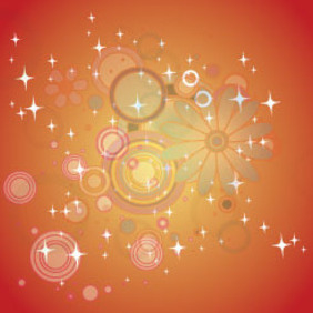 Orange Background With Circled Floral Art - Free vector #208041