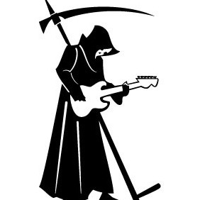 Death With Scythe And Guitar - Free vector #208241