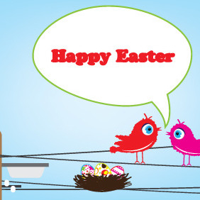Happy Easter Card - Free vector #208771