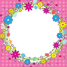 Cartoonized Easter Wreath Banner - Kostenloses vector #209161