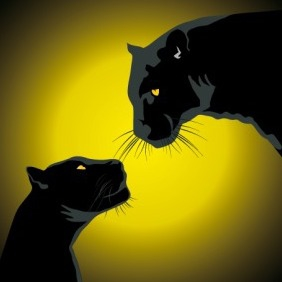 Two Black Panthers - vector gratuit #209171