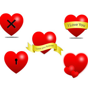 Vector Heart Icons - vector gratuit #209411