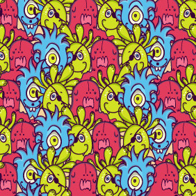Cute Monsters Pattern - Free vector #209591