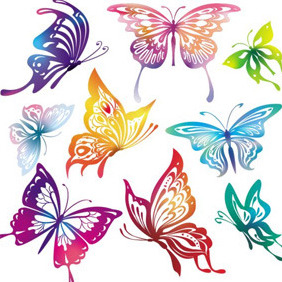 Colourful Butterflies - Free vector #209611
