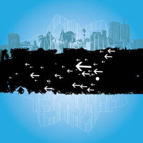 Building Grunge Art In Blue Background - Free vector #209771