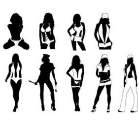 Sexy Girls Silhouettes Free Vector - vector gratuit #210201