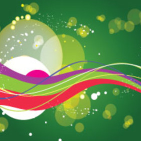 Green Background With Colored Abstract Lines - Free vector #210431