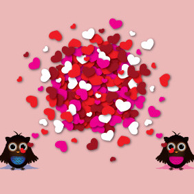 Love Story Of Two Happy Owls - vector gratuit #210501
